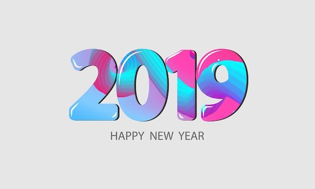 2019 gelukkig nieuwjaar concept. abstracte gradiënten golven achtergrond.