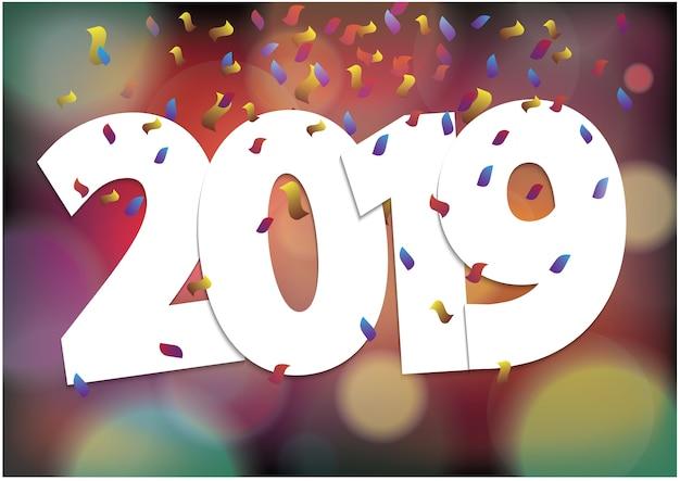 2019 gelukkig nieuwjaar feestelijke seizoen en kleurrijke bokeh lichten