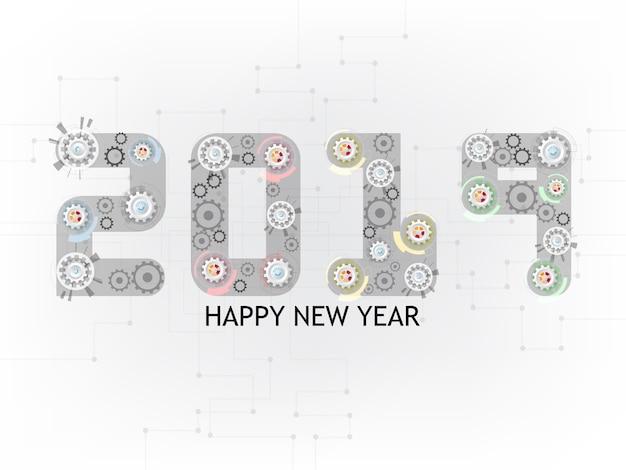2019 gelukkig nieuwjaar gears wiel achtergrond.
