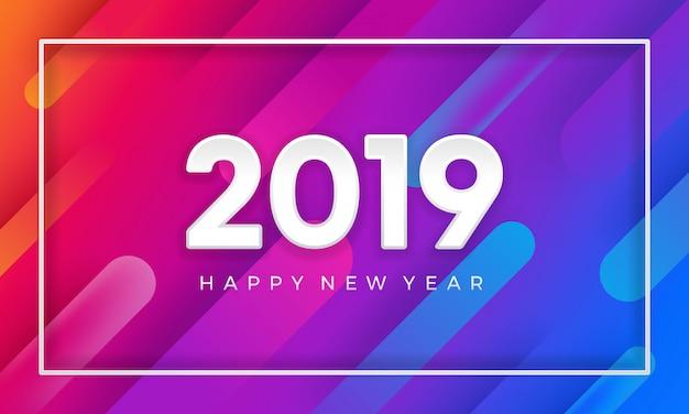 2019 gelukkig nieuwjaar met dynamische kleuren vector achtergrond.