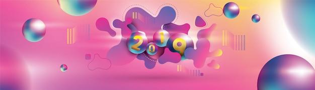 2019 gelukkig nieuwjaar met met vloeibare dynamische vloeibare bollen en kerstballen