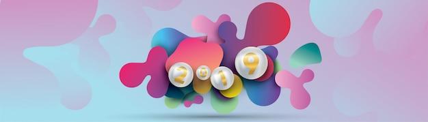 2019 gelukkig nieuwjaar met met vloeibare dynamische vloeistofbol