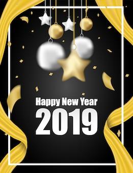 2019 gelukkig nieuwjaar. zwarte achtergrond.