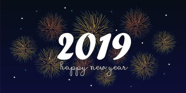 2019 gelukkige nieuwe jaar groeten ontwerp vectorillustratie