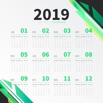 2019 kalender met abstracte vormen