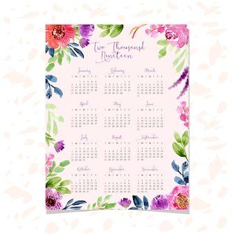 2019 kalender met mooie waterverf bloemenachtergrond