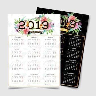 2019 kalender met waterverf bloemenelementen