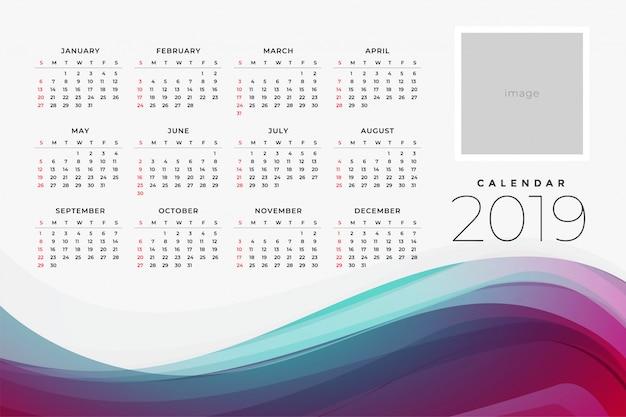 2019 kalender van de yar ontwerpsjabloon