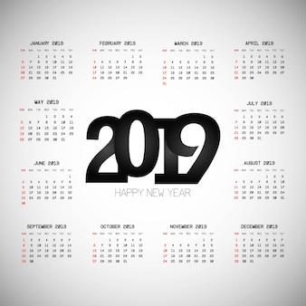 2019 kalenderontwerp met lichte vector als achtergrond