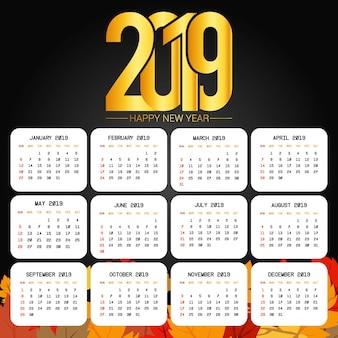 2019 kalenderontwerp met zwarte vector als achtergrond