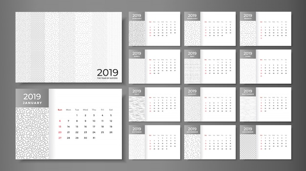 2019 kalendersjabloon en bureaukalender mock-up