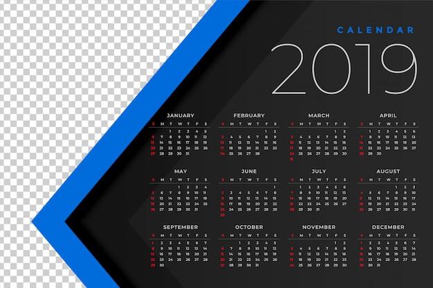 2019 kalendersjabloon met afbeeldingsruimte
