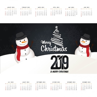 2019 kerstmis kalender ontwerp vector