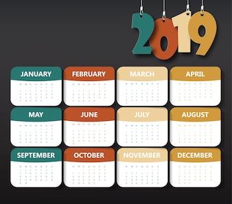 2019 Moderne kalendersjabloon
