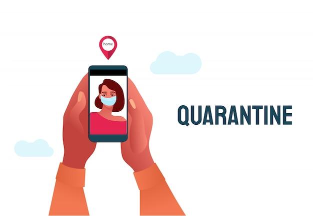 2019-ncov-quarantaine. triest vrouw in beschermend masker op telefoonscherm. werken op afstand concept. coronavirus paniek. liefhebbers uit elkaar. geïsoleerde zieke illustratie.