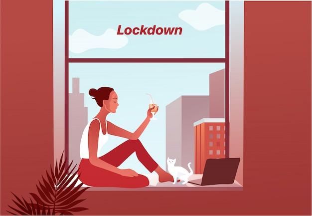 2019-ncov-quarantaine. triest vrouw in beschermend masker op telefoonscherm.