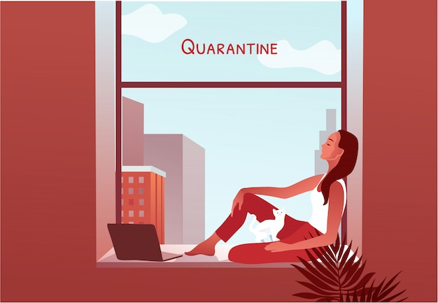 2019-ncov-quarantaine. vrouw kijkt door het raam