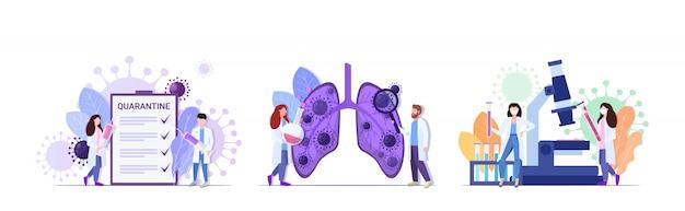 2019-ncov set artsen inspecteren longen houden vaccin spuit analyseren coronavirus monster pandemie medische gezondheidsrisicoconcepten verzameling volledige lengte horizontaal