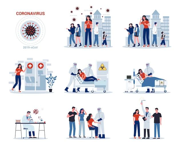 2019-ncov symptomen en verspreiding en behandeling. coronovirus-waarschuwing. onderzoek en ontwikkeling naar een preventief vaccin. set van