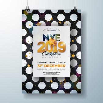 2019 nieuwjaar partij viering poster sjabloon