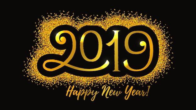 2019 nieuwjaars vector de groetkaart van de de wintervakantie