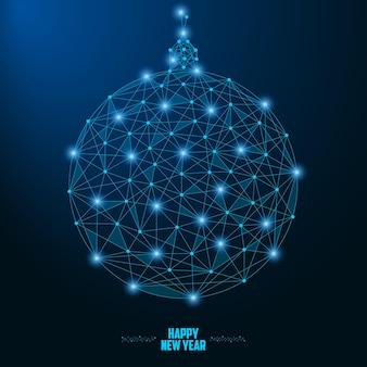 2019 nieuwjaarsillustratie met kerstbal gemaakt door punten en lijnen veelhoekig draadframe mesh