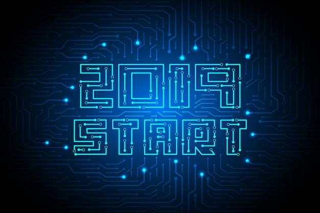 2019 start op circuittechnologie achtergrondontwerp.