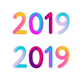 2019 vector de illustratieontwerp van de nieuwjaar 3d kaartbanner