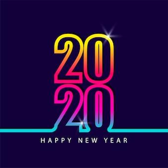 2020 aantal nieuwe jaar kleurrijke regenboogkleur