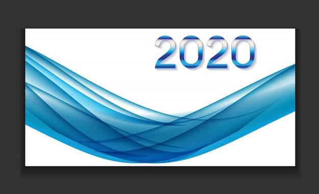 2020 abstracte vectorillustratie van nieuwjaar op achtergrond van gekleurde golven