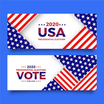 2020 amerikaanse presidentsverkiezingen banners sjabloon
