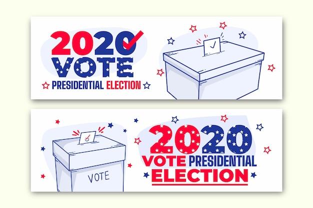 2020 amerikaanse presidentsverkiezingen banners sjabloon Premium Vector