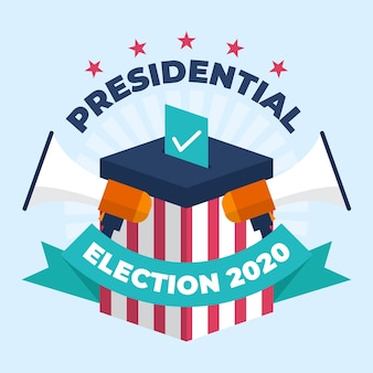 2020 amerikaanse presidentsverkiezingen concept met megafoons