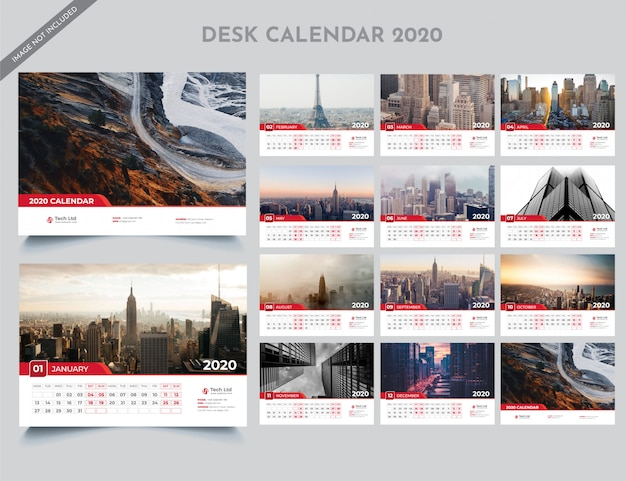 2020 bureaukalender-sjabloon