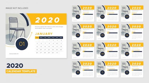 2020 bureaukalendersjabloon