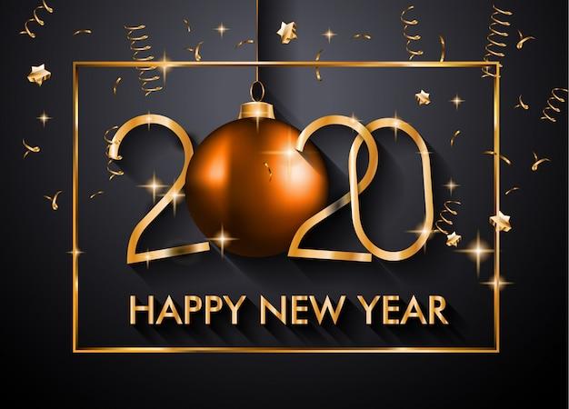 2020 gelukkig nieuwjaar achtergrond voor uw seizoensgebonden folders en wenskaart voor kerstmis