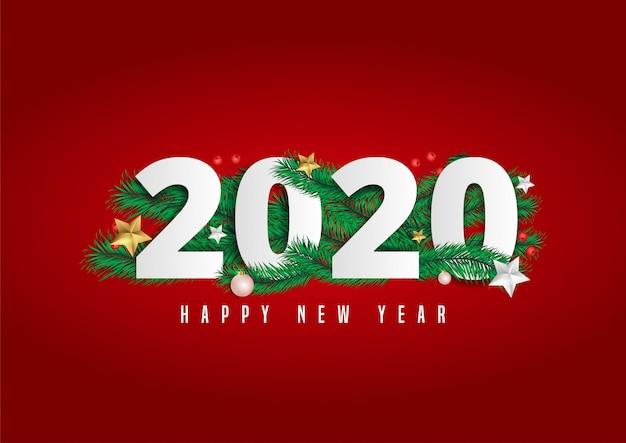 2020 gelukkig nieuwjaar belettering versierd met pijnboombladeren en bessen.