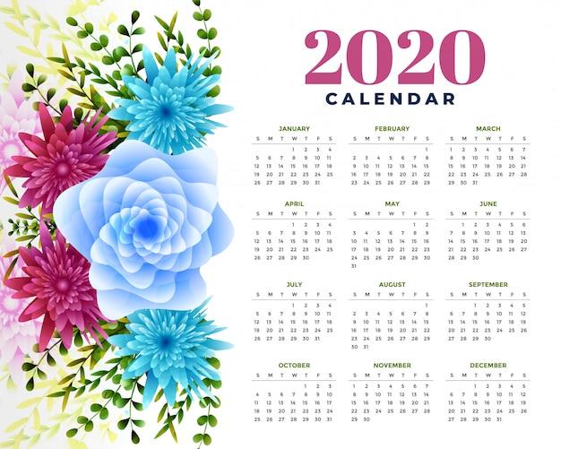 2020 gelukkig nieuwjaar bloem sjabloon lay-outontwerp
