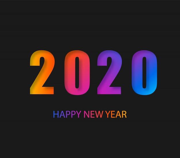 2020 gelukkig nieuwjaar donkere achtergrond met kleurrijke gradiënt samenstelling. creatieve trendy vakantie. 2020 modern.