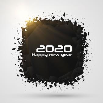2020 gelukkig nieuwjaar. geometrische vernietigingsvormen.