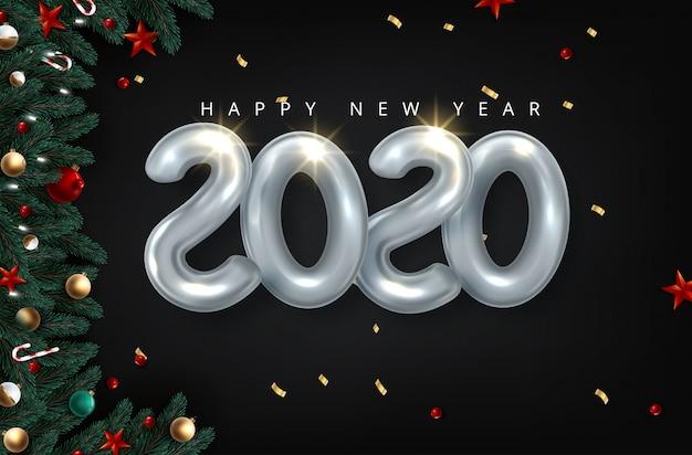 2020 gelukkig nieuwjaar in goud. getallen minimalistische stijl 2020 ballon geïsoleerd