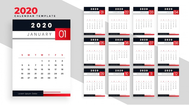 2020 gelukkig nieuwjaar kalender lay-out sjabloonontwerp
