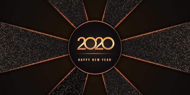 2020 gelukkig nieuwjaar met gouden cijfers op zwarte vakantieachtergrond