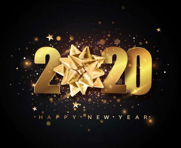 2020 gelukkig nieuwjaar met gouden geschenkboog, confetti, gouden cijfers.