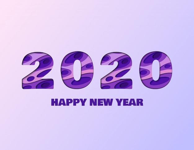 2020 gelukkig nieuwjaar papier gesneden poster