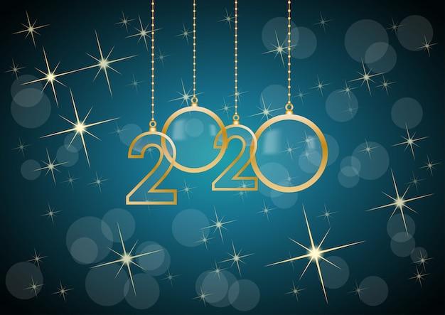 2020 gelukkig nieuwjaar vieren kaart met vakantiegroeten, gouden hangende tekst, blauwe achtergrond