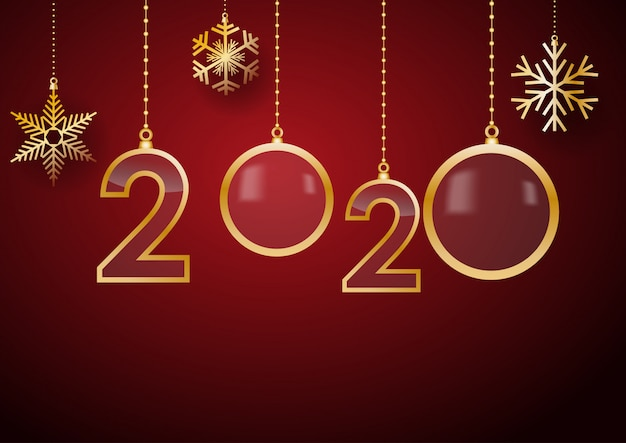 2020 gelukkig nieuwjaar vieren kaart met vakantiegroeten, gouden hangende tekst, rode achtergrond met sneeuw