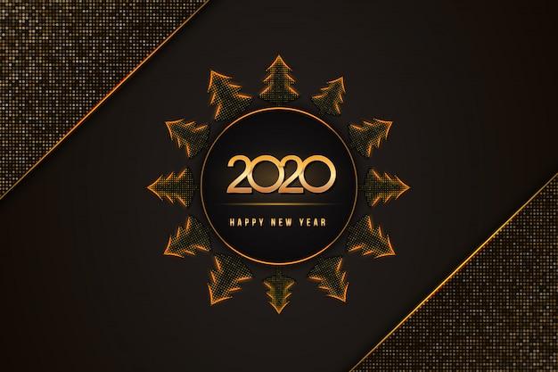 2020 gelukkig nieuwjaarstekst met kerstbomen op zwart