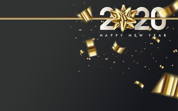 2020 gelukkige verjaardag achtergrond met een gouden lint boven het witte 2020-nummer