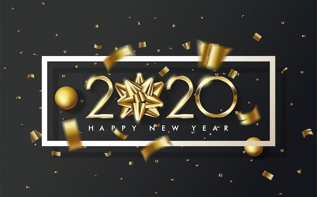 2020 gelukkige verjaardag achtergrond met een gouden lint vervangt de eerste 0 in 2020